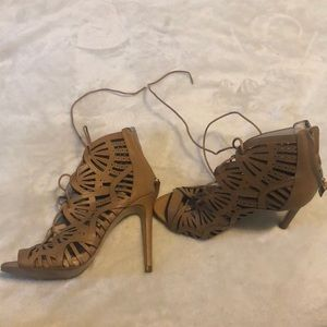 Zara Women's Tan Lace-Up Heels
